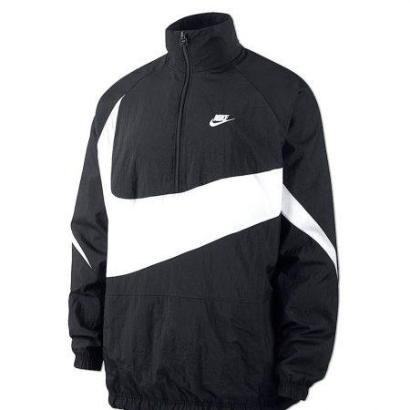 f31c2df3c1ac Nike Sportswear Swoosh Woven Halfzip Jacket Black White giacche