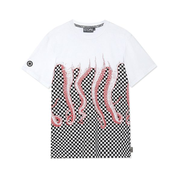 octopus-checkered-tee-red-white-screen-printed-t-shirt-sixstreet-shop-bolzano