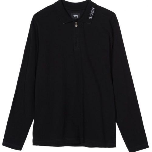 stussy-lion-l-s-zip-polo-black-t-shirt-sixstreet-shop-bolzano